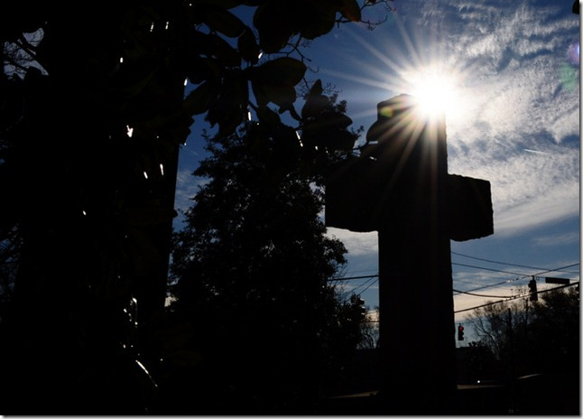 St. Paul's Episcopal church Edenton, NC cemetery cross sunflare